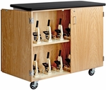 Science Lab 24 Microscope Mobile Wooden Cabinet with 1.25'' Thick Black Plastic Laminate Top and Locking Doors - 48''W x 24''D x 40''H [4701K-DW]
