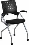 Galaxy Mobile Nesting Chair with Arms and Black Fabric Seat [WL-A224V-A-GG]
