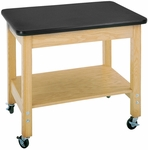 Mobile Science Lab Demonstration Cart with 1.25'' Thick Black Plastic Laminate Top - 36''W x 24''D x 30''H [4501K-DW]