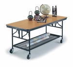 Mobile Utility Table with Laminate Plywood Core Top and Storage - 30''W x 72''L x 30''H [MU306EF-MFT]