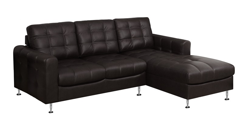 Bonded leather sofa with chaise lounger and tufted back for Bonded leather chaise