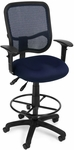 Mesh Comfort Ergonomic Task Chair with Arms and Drafting Kit - Navy [130-AA3-DK-A04-FS-MFO]