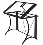 Monterey Clear Tempered Glass and Steel Craft Station with Adjustable Angle Top - Black [13316-FS-SDI]