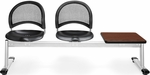 Moon 3-Beam Seating with 2 Black Plastic Seats and 1 Table - Cherry Finish [333T-P-BLK-CH-MFO]