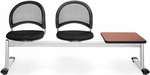 Moon 3-Beam Seating with 2 Black Fabric Seats and 1 Table - Cherry Finish [333T-2224-CHRY-MFO]
