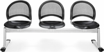 Moon 3-Beam Seating with 3 Plastic Seats [333-P-BLK-MFO]