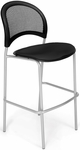 Moon Cafe Height Chair with Fabric Seat and Silver Frame - Black [338S-2224-MFO]