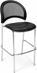 Moon Cafe Height Chair with Vinyl Seat and Chrome Frame - Black [338C-VAM-606-MFO]