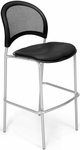 Moon Cafe Height Chair with Vinyl Seat and Silver Frame - Black [338S-VAM-606-MFO]