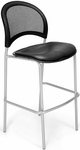 Moon Cafe Height Chair with Vinyl Seat and Silver Frame - Charcoal [338S-VAM-604-MFO]