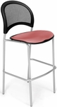 Moon Cafe Height Chair with Fabric Seat and Silver Frame - Coral Pink [338S-2208-MFO]