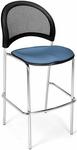Moon Cafe Height Chair with Fabric Seat and Chrome Frame - Cornflower Blue [338C-2206-MFO]