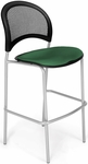 Moon Cafe Height Chair with Fabric Seat and Silver Frame - Forest Green [338S-2221-MFO]