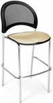 Moon Cafe Height Chair with Fabric Seat and Chrome Frame - Khaki [338C-2209-MFO]