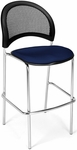 Moon Cafe Height Chair with Fabric Seat and Chrome Frame - Navy [338C-2203-MFO]