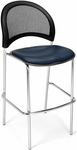 Moon Cafe Height Chair with Vinyl Seat and Chrome Frame - Navy [338C-VAM-605-MFO]