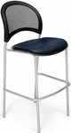 Moon Cafe Height Chair with Vinyl Seat and Silver Frame - Navy [338S-VAM-605-MFO]
