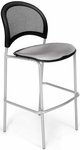 Moon Cafe Height Chair with Fabric Seat and Silver Frame - Putty [338S-2218-MFO]