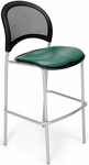 Moon Cafe Height Chair with Vinyl Seat and Silver Frame - Teal [338S-VAM-602-MFO]