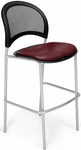 Moon Cafe Height Chair with Vinyl Seat and Silver Frame - Wine [338S-VAM-603-MFO]