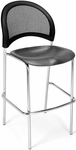 Moon Cafe Height Chair with Plastic Seat and Chrome Frame - Black [338C-P-BLK-MFO]