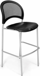 Moon Cafe Height Chair with Plastic Seat and Silver Frame - Black [338S-P-BLK-MFO]