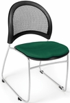 Moon Stack Chair with Fabric Seat Cushion - Forest Green [335-2221-MFO]