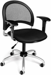 Moon Swivel Chair with Arms - Black [336-AA3-2224-FS-MFO]