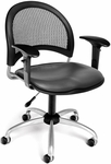 Moon Swivel Chair with Vinyl Seat with Arms - Charcoal [336-VAM-AA3-604-FS-MFO]