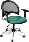 Moon Swivel Chair with Vinyl Seat with Arms - Teal [336-VAM-AA3-602-FS-MFO]