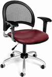 Moon Swivel Chair with Vinyl Seat with Arms - Wine [336-VAM-AA3-603-FS-MFO]