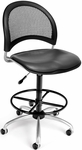 Moon Swivel Chair with Vinyl Seat with Drafting Kit - Charcoal [336-VAM-DK-604-FS-MFO]