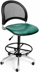 Moon Swivel Chair with Vinyl Seat with Drafting Kit - Teal [336-VAM-DK-602-FS-MFO]