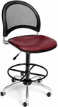 Moon Swivel Chair with Vinyl Seat with Drafting Kit - Wine [336-VAM-DK-603-FS-MFO]