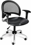 Moon Swivel Plastic Chair with Arms - Black [336-P-AA3-BLK-FS-MFO]