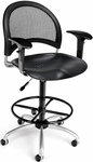 Moon Swivel Plastic Chair with Arms and Drafting Kit - Black [336-P-AA3DK-BLK-FS-MFO]