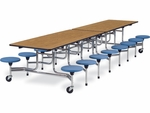MTS Series Mobile Folding Table with 15''H Stools - Seats 16 - 58''W x 144''D x 27''H [MTS15271216-VCO]