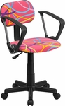 Multi-Colored Swirl Printed Pink Swivel Task Chair with Arms [BT-OLY-A-GG]