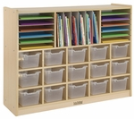 Birch Mobile Multi-Section Storage Cabinet with 15 Clear Bins - 48''W x 13''D x 36''H [ELR-0428-CL-ECR]