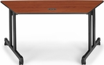 60'' W x 24'' D Trapezoid Table - Cherry Top [55260-CHY-BLK-FS-MFO]