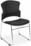 Multi-Use Stack Chair with Fabric Seat and Back - Black [310-F-805-MFO]