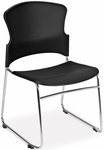Multi-Use Stack Chair with Plastic Seat and Back - Black [310-P-A02-MFO]