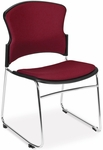 Multi-Use Stack Chair with Fabric Seat and Back - Wine [310-F-803-MFO]