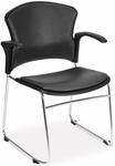 Multi-Use Stack Chair with Anti-Microbial and Anti-Bacterial Vinyl Seat and Back with Arms - Charcoal [310-VAM-A-604-MFO]