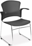 Multi-Use Stack Chair with Plastic Seat and Back with Arms - Gray [310-PA-GRY-MFO]