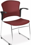Multi-Use Stack Chair with Plastic Seat and Back with Arms - Wine [310-PA-WINE-MFO]