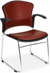 Multi-Use Stack Chair with Anti-Microbial and Anti-Bacterial Vinyl Seat and Back with Arms - Wine [310-VAM-A-603-MFO]