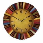 Yellow Face Roman Numeral 30.5'' Diameter Wall Clock with Multi Color Rays [WS1963-FS-SENT]