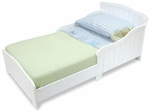 Nantucket Wooden Low Height Toddler Bed with Built in Safety Bed Rails - White [86621-FS-KK]