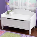 Nantucket Wooden Childs Large Toybox with Bench Seating Top - White [14562-FS-KK]